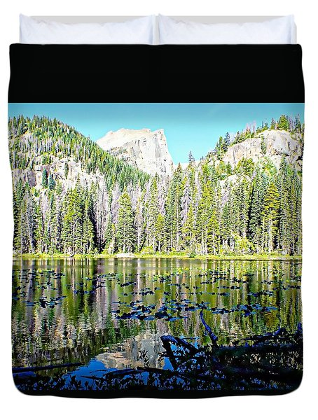Nymph Lake And Flattop Mountain Duvet Cover by Joseph Hendrix