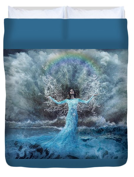 Nymph Of  The Water Duvet Cover by Lilia D