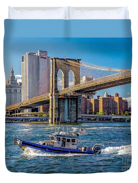 Nypd On East River Duvet Cover by Nick Zelinsky