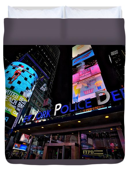 Duvet Cover featuring the photograph Nypd by Ross Henton