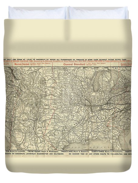 O And M Map Duvet Cover