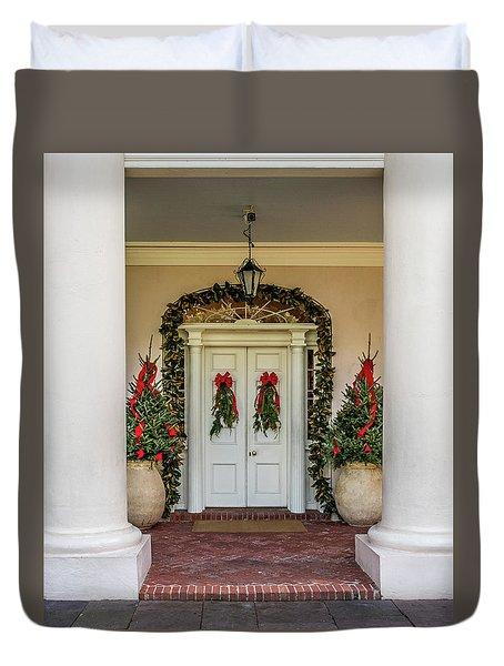 Duvet Cover featuring the photograph Oak Alley Plantation Doors by Paul Freidlund