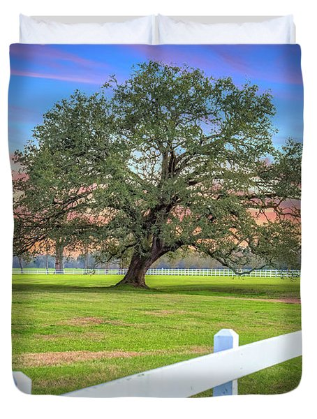 Oak Alley Signature Tree At Sunset Duvet Cover