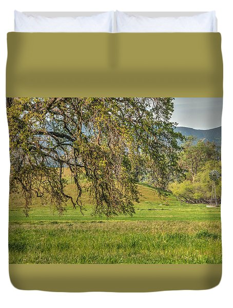 Oak And Windmill In Meadow Duvet Cover