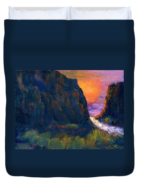 Duvet Cover featuring the painting Oak Creek Canyon by Gail Kirtz