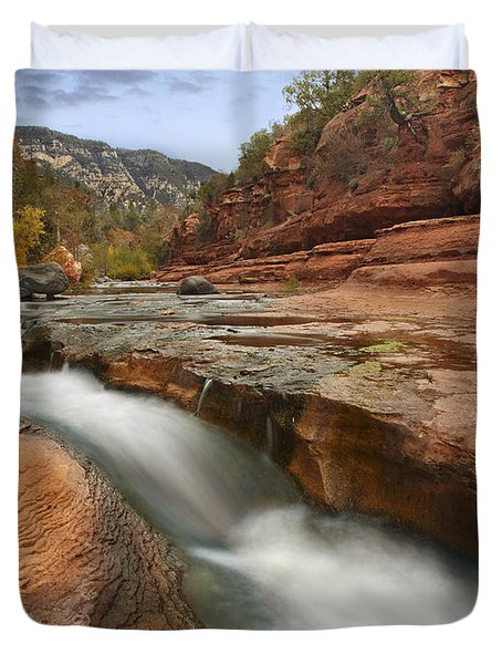 Duvet Cover featuring the photograph Oak Creek In Slide Rock State Park by Tim Fitzharris
