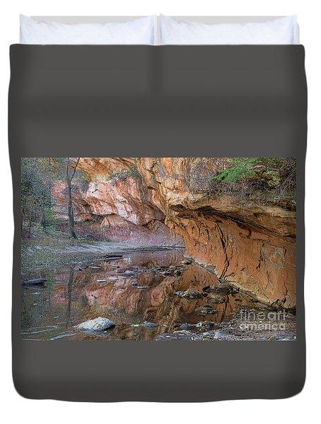 Duvet Cover featuring the photograph Oak Creek Reflections - Sedona, Az by Sandra Bronstein