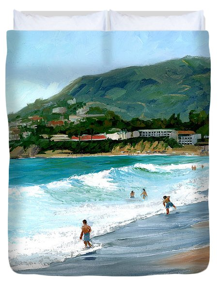 Oak Street Beach, Laguna Beach Duvet Cover