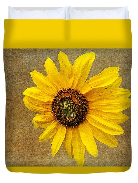 Duvet Cover featuring the photograph Oak Street Sunflower by Tom Singleton