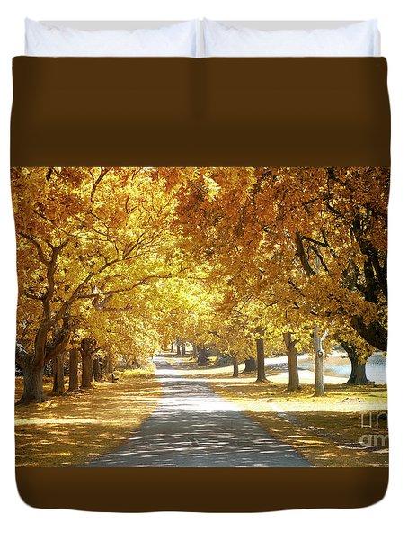 Oak Tree Avenue In Autumn Duvet Cover
