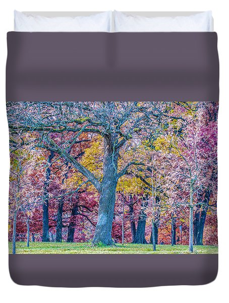 Oak Trees At Fall Duvet Cover