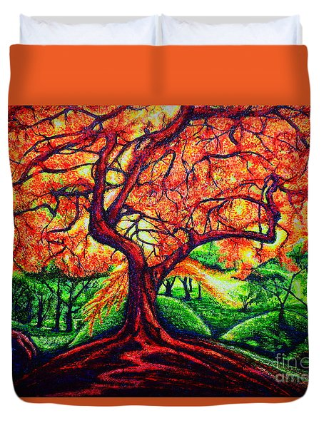 Duvet Cover featuring the painting OAK by Viktor Lazarev