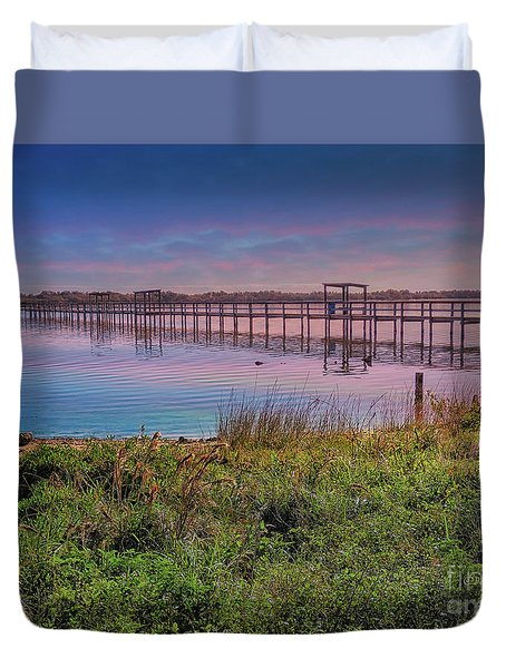 Duvet Cover featuring the photograph Oakhill Pier by Deborah Benoit