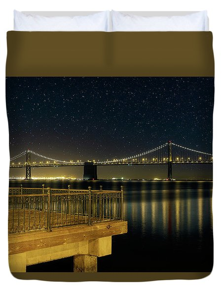 Oakland Bay Bridge By The Pier In San Francisco At Night Duvet Cover