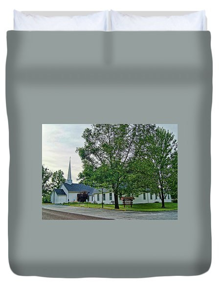 Duvet Cover featuring the photograph Oakland Christian Church by Cricket Hackmann