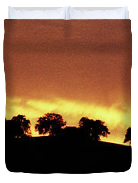 Duvet Cover featuring the photograph Oaks On Hill At Sunset by Jim and Emily Bush