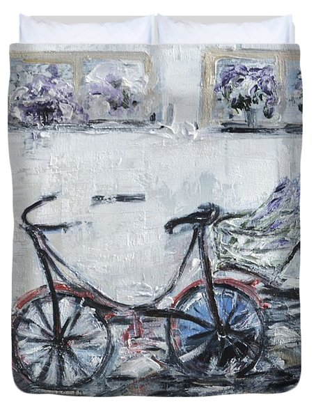 Oana's Bike Duvet Cover by Evelina Popilian