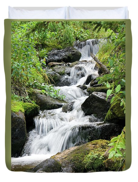 Duvet Cover featuring the photograph Oasis Cascade by David Chandler