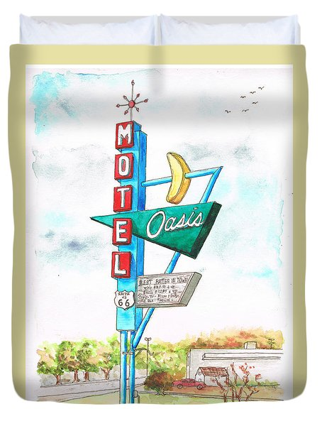 Oasis Motel In Route 66, Tulsa, Texas Duvet Cover