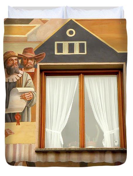 Duvet Cover featuring the photograph Oberammergau Frescoe by KG Thienemann