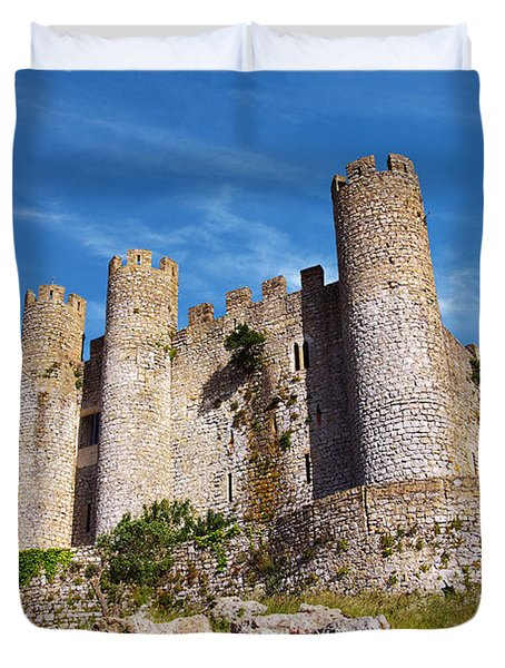 Obidos Castle Duvet Cover by Carlos Caetano