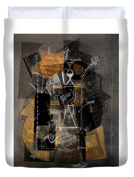 Objects In Space With Ochre Duvet Cover