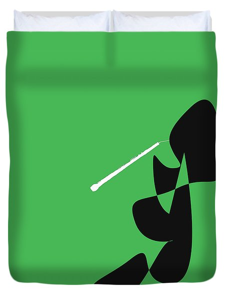 Oboe In Green Duvet Cover