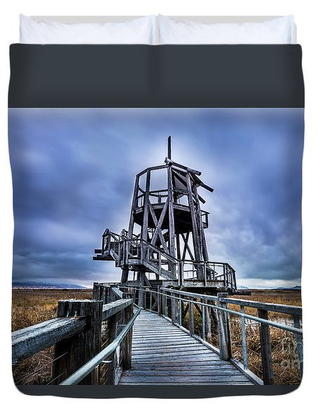 Duvet Cover featuring the photograph Observation Tower - Great Salt Lake Shorelands Preserve by Gary Whitton