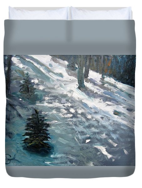 Duvet Cover featuring the painting Observing Snow by Gary Coleman