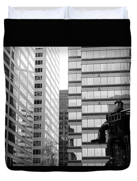 Duvet Cover featuring the photograph Observing The City by Valentino Visentini
