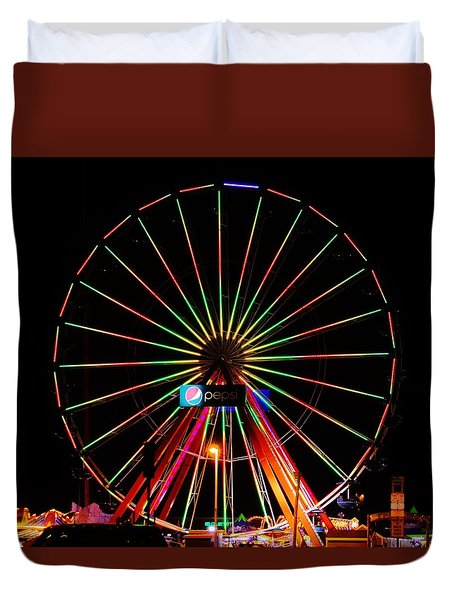 Oc Pier Ferris Wheel At Night Duvet Cover by William Bartholomew