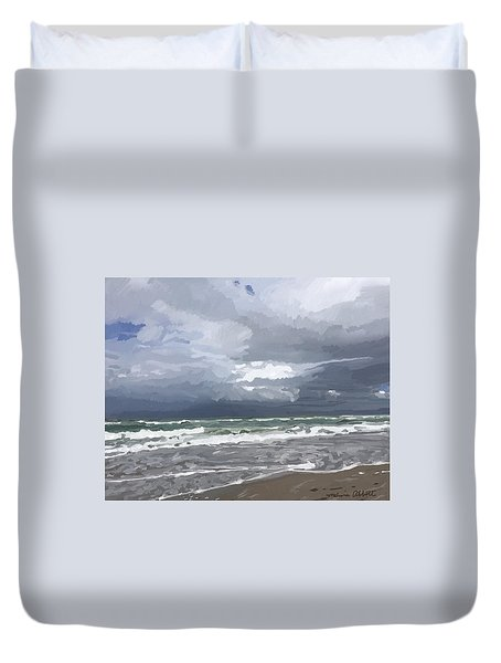 Ocean And Clouds Over Beach At Hobe Sound Duvet Cover