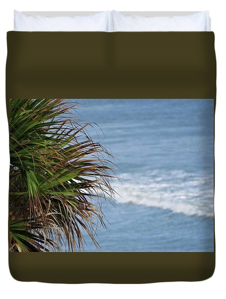 Ocean And Palm Leaves Duvet Cover by Kathy Long