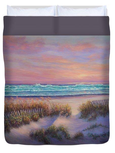 Ocean Beach Path Sunset Sand Dunes Duvet Cover