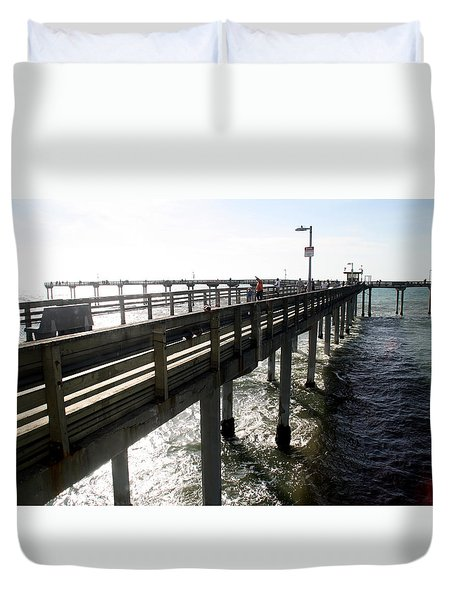 Ocean Beach Pier Duvet Cover by Christopher Woods