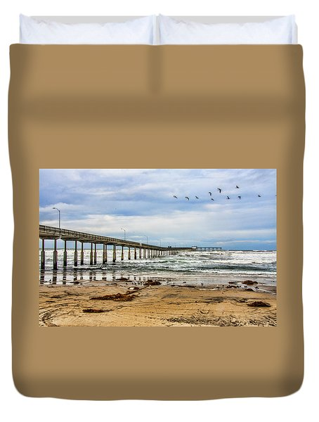 Ocean Beach Pier Fishing Airforce Duvet Cover