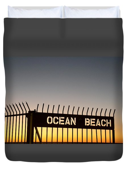 Ocean Beach Pier Gate Duvet Cover