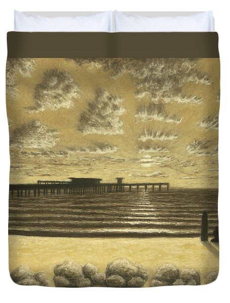 Ocean Beach Pier Sunset 01 Duvet Cover
