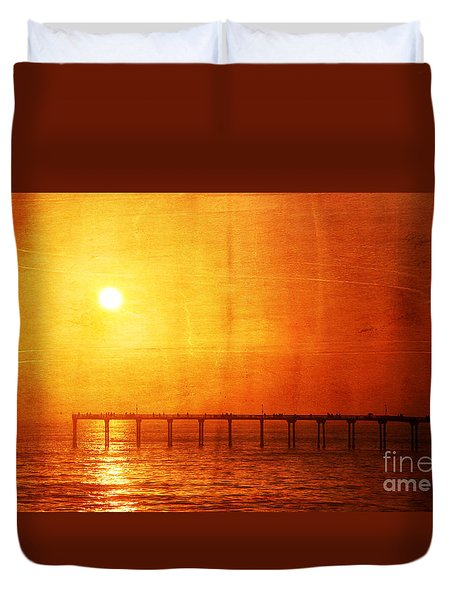 Ocean Beach Pier Sunset Duvet Cover
