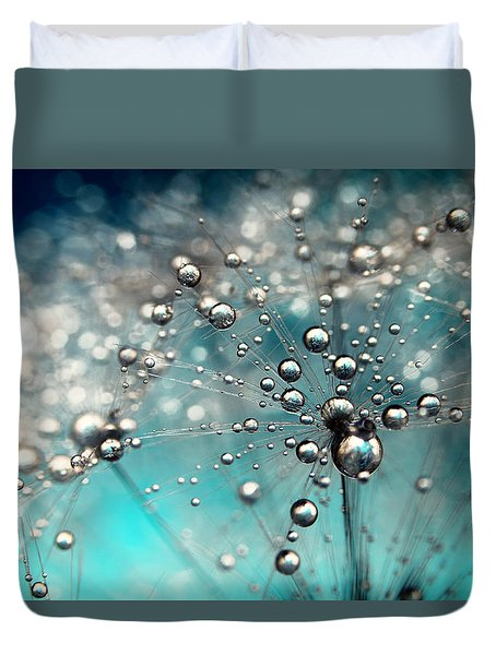 Ocean Blue And White Dandy Drops Duvet Cover