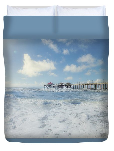 Ocean Blue At The Pier Duvet Cover