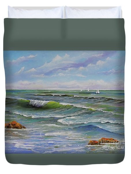 Duvet Cover featuring the painting Ocean Breeze by Mary Scott