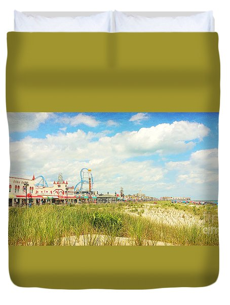 Ocean City Boardwalk Music Pier And Beach Duvet Cover