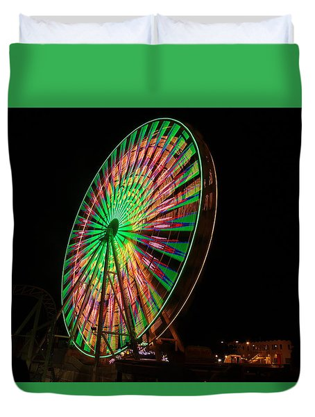 Ocean City Ferris Wheel Duvet Cover