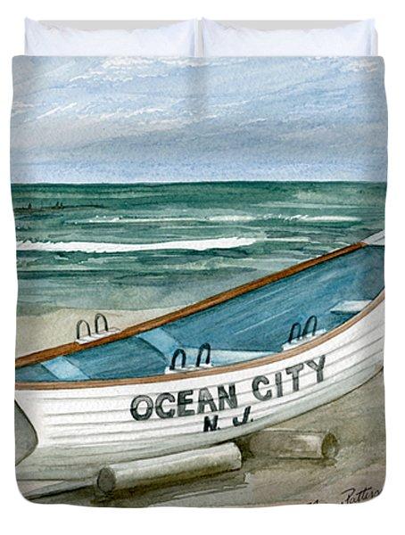 Ocean City Lifeguard Boat Duvet Cover