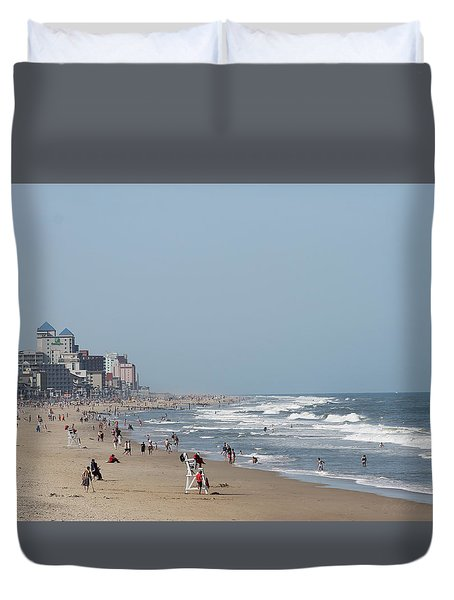 Duvet Cover featuring the photograph Ocean City Maryland Beach by Robert Banach