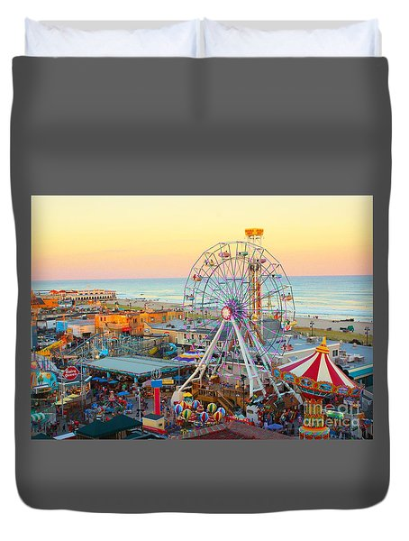 Ocean City New Jersey Boardwalk Duvet Cover