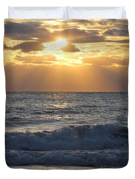 Duvet Cover featuring the photograph Ocean City Sunrise by Robert Banach
