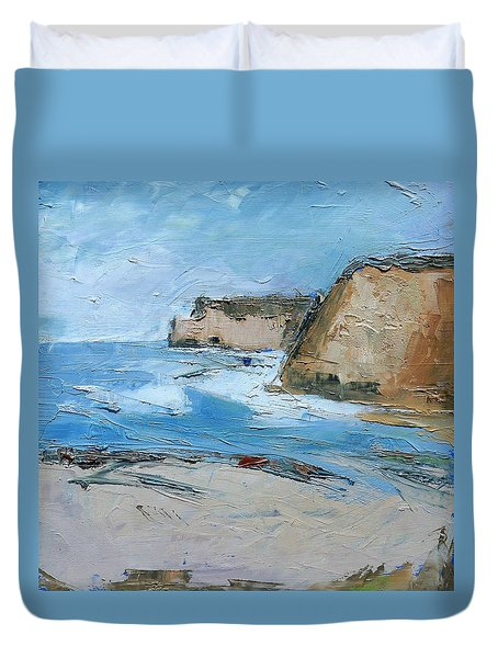Duvet Cover featuring the painting Ocean Cliffs by Gary Coleman