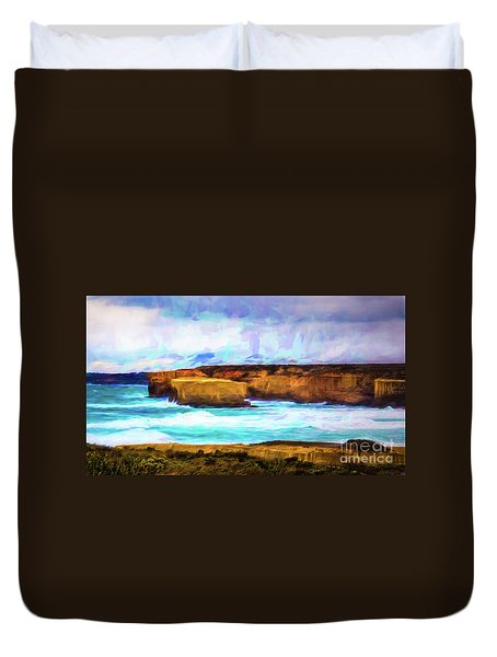 Duvet Cover featuring the photograph Ocean Cliffs by Perry Webster